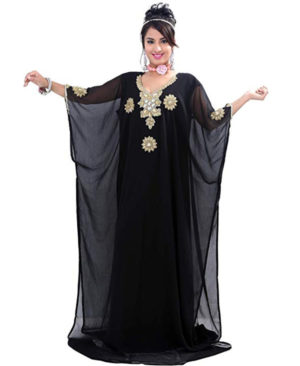 Women Chiffon Golden Work Long Dubai Kaftan