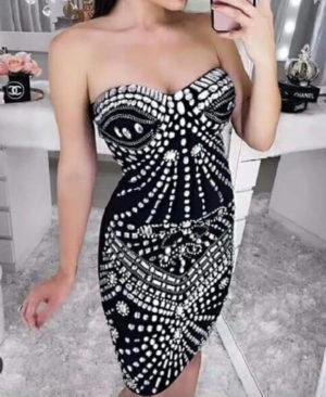 White Pearl Rhinestones Embellished Prom Dress