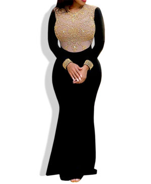 African Boutique Franda Dress Nude - Black color