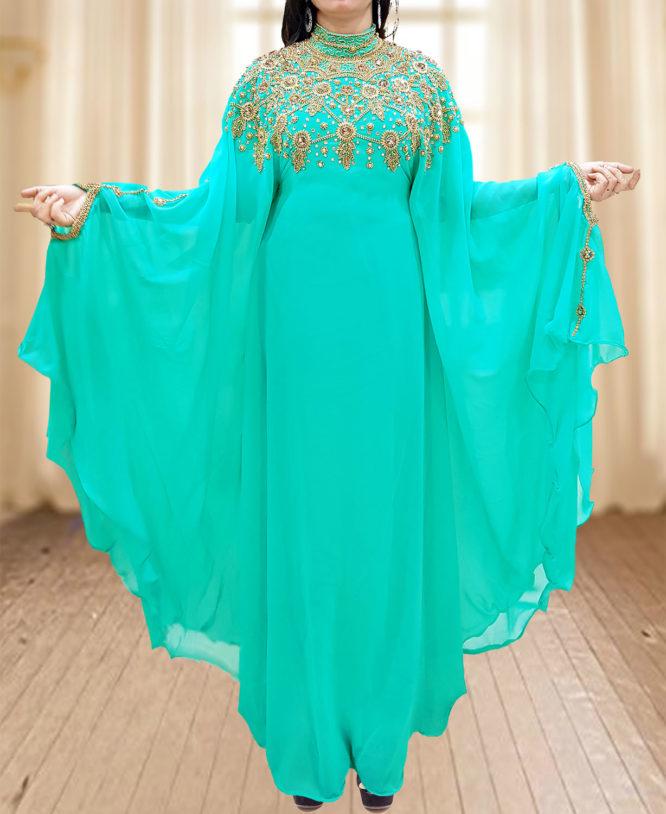 Dubai Kaftan Abaya Jalabiya Maxi Gown Hand Work Golden Beaded African Dress