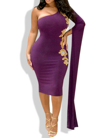 African Boutique One Off Shoulder Bell Sleeve Bodycon Elegant Midi Dress