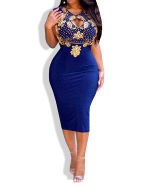 African Boutique Open Chest Bodycon Elegant Midi Dress