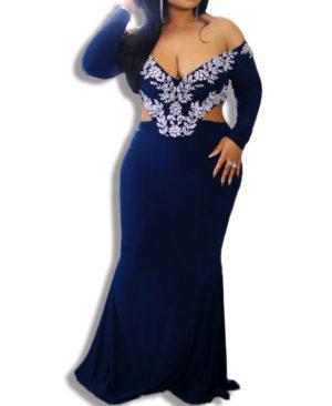 African Boutique Off Shoulder Deep V Neck Mermaid Prom Dresses