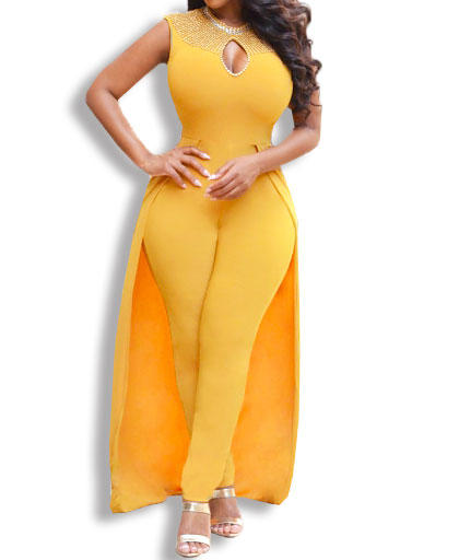 Cape Jumpsuit Women Open Chest Dress