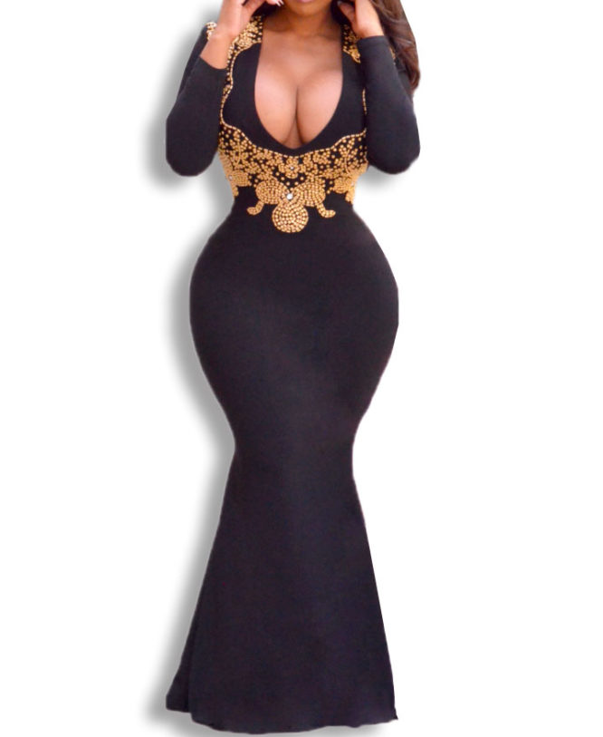 U Neck Golden Beads and Long train Backless Dress