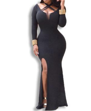 Criss-Cross Chest Cutout And Sexy Deep Side Slit African Dress
