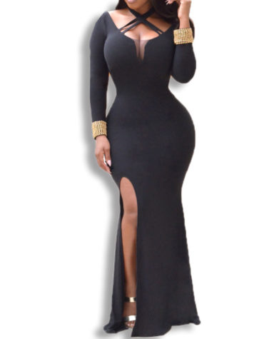 Criss-Cross Chest Cutout And Sexy Deep Side Slit African Dress