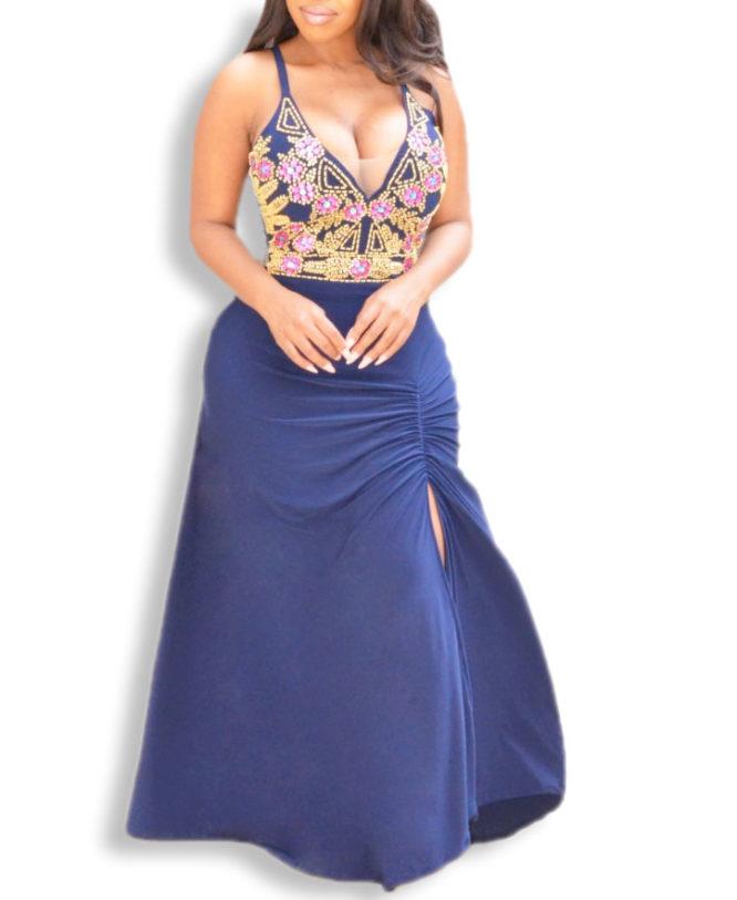 Designer Deep V Neck With Side-Slit Spandex Dress