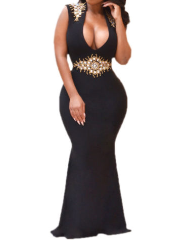 Open U Design Neck Evening Prom Sleeveless Dress