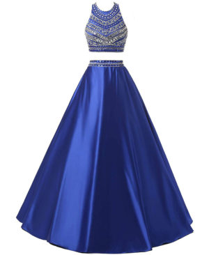 Women's Two Pieces Beaded Evening Gowns Satin Sequined Prom Dresses