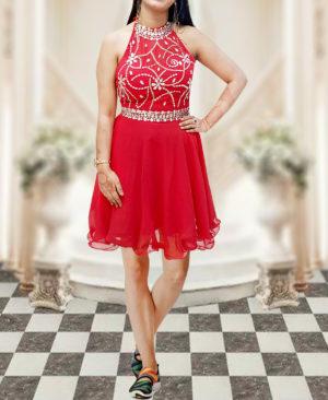 Women Short Beaded Prom Dress Halter Homecoming Backless Dress