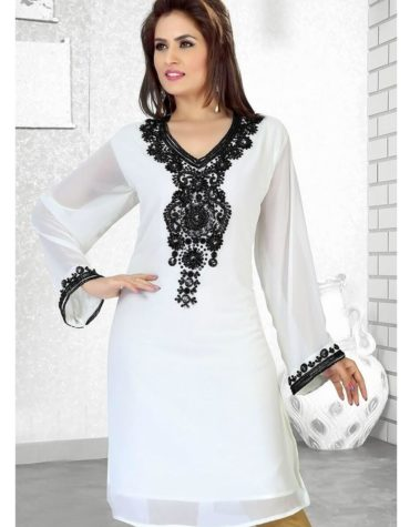 Women Chiffon Black Work Long Dubai Kaftan