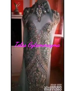 Silver Pearl Rhinestones Embellished Designer Dress