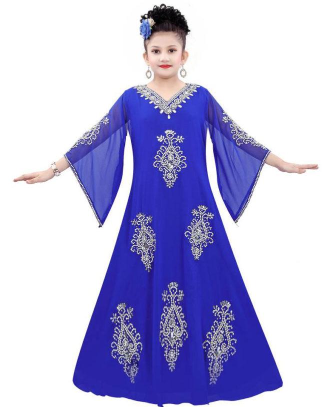 Silver Work Long Chiffon Dubai Dress