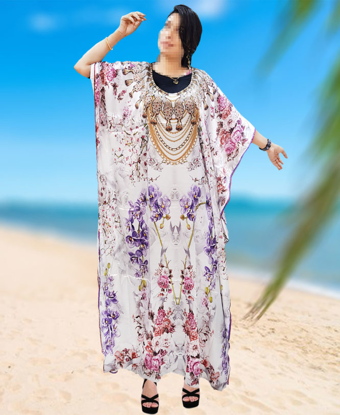 Designer Beach Cover Up Luxuries Digital Printed Dresses for Women