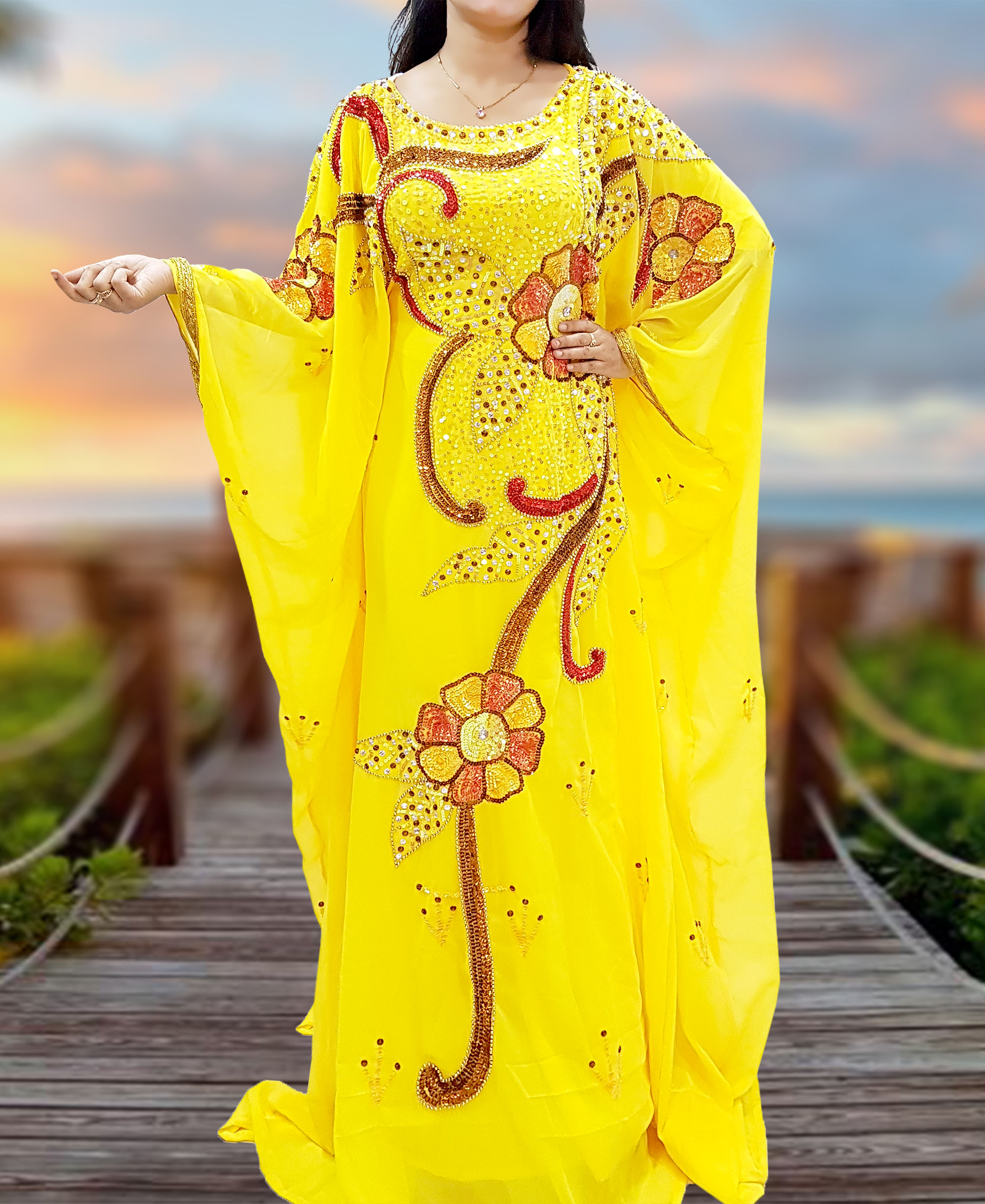 Maxi Gown Gold Lace Party Plus Size Kaftan Evening african