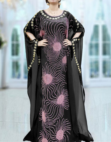 African Abaya Free Size Million Diamond Sparkling Rhinestones Black Maxi Gown