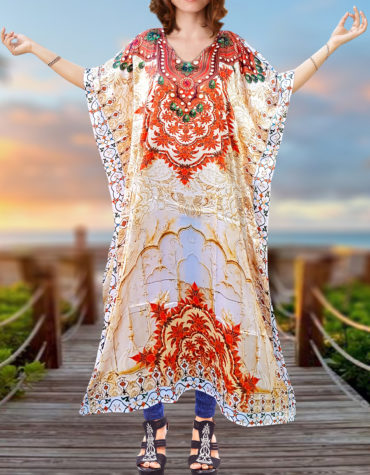 Digital Print Caftan with 3/4 Sleeve Plus Size Summer Cover Up Dresses for Women