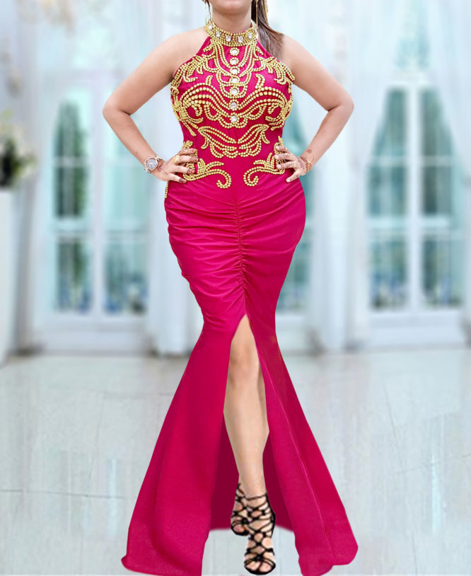 African Style Moroccan Beads Embroidery Prom Sexy Spandex Kaftan Abaya Dresses