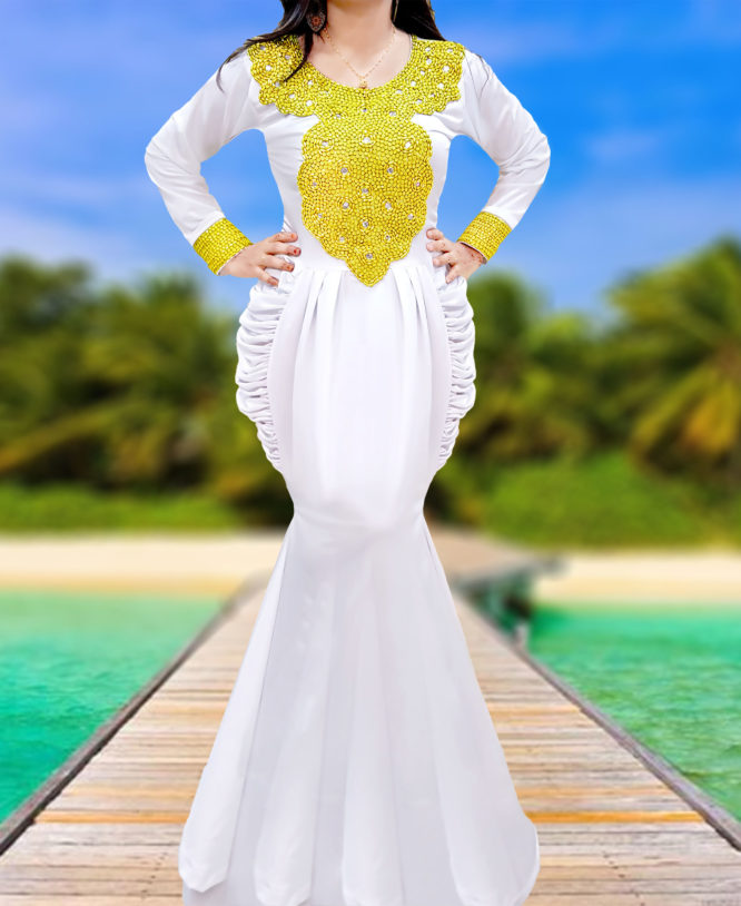 African Style Embroidered Dress Moroccan Gold Beaded White Spandex Caftan Abaya