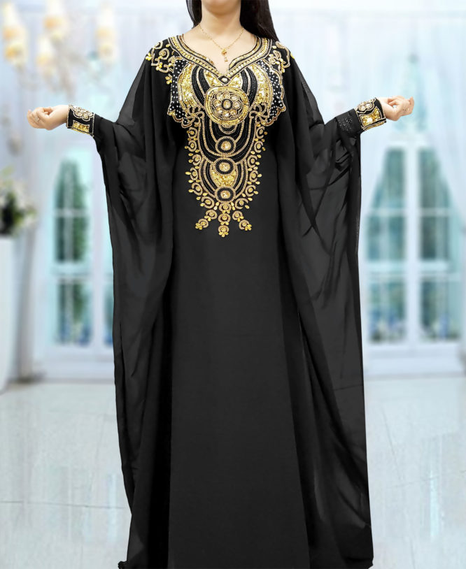 Gold Beaded Dubai Kaftan Black Chiffon African Dresses Abaya for Women Maxi Gown