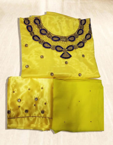 African 3 Piece Swiss Voile Yellow Solid Satin Silk Dress Material for Women