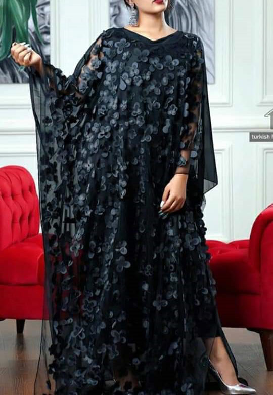 Elegent Black Floral Embroidery Work Long Maxi Party Dress Dubai Abaya Kaftan