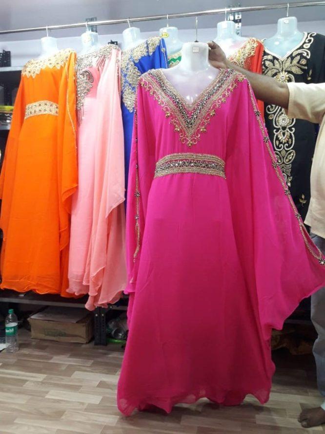 Moroccan Long Gold Embellished Abaya Beaded Maxi Dress Dubai Kaftan