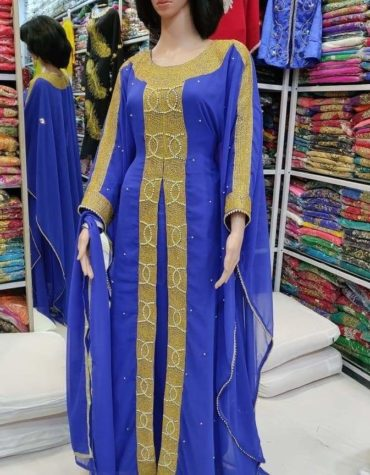 Women's Embroidery Lace Beads Beaded Front Slit Long Maxi Dress Dubai Kaftan