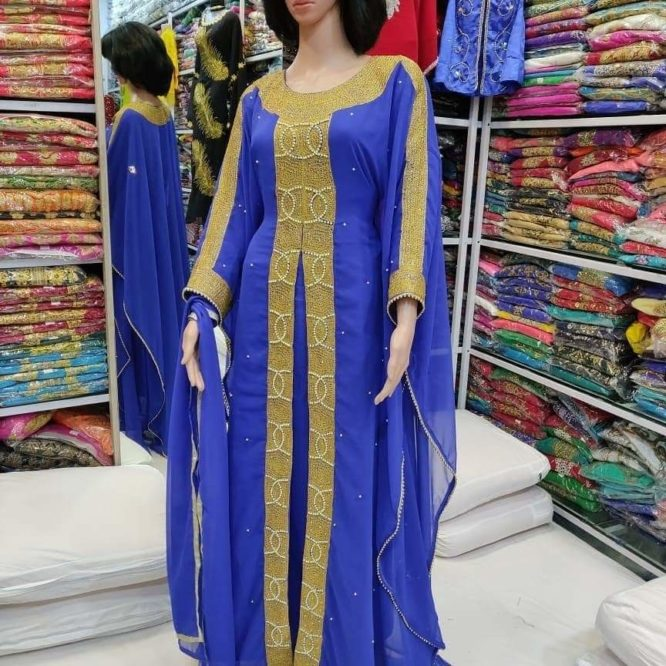 Women's Embroidery Lace Beads Beaded Front Slit Long Maxi Dress Dubai Kaftan