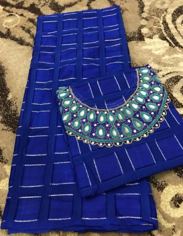 Swiss Voile Lace Blue Mix Color Beaded African Almond Design Dress Material