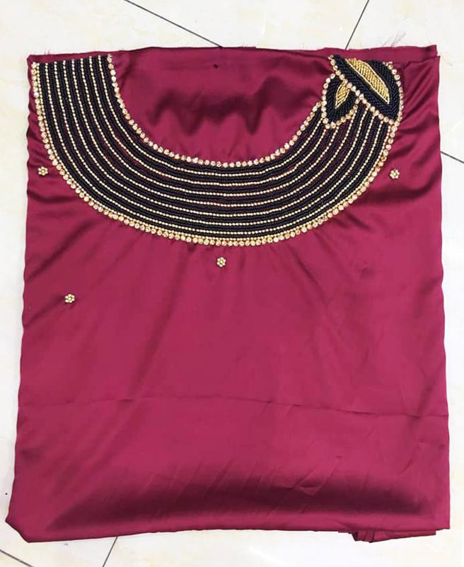 African 3 Piece Swiss Voile Plane Satin Silk Crystal & Stone Beaded Dress Material