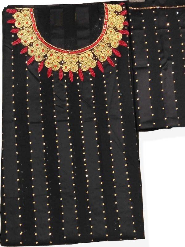 Swiss Voile Lace Black Party Wear Beaded African Style Dress Material