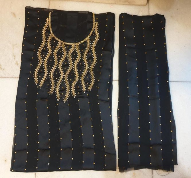 Arabian Swiss Voile Black Party Wear Beaded African Style Dress Material