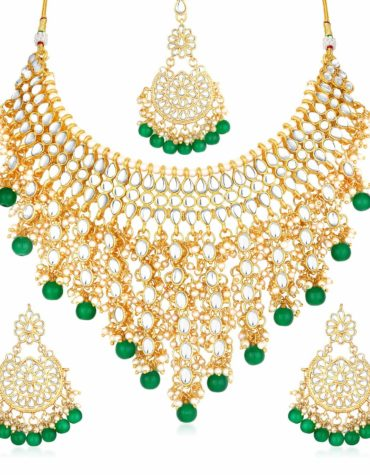 Gold Plated Kundan Pearl Fancy Choker Necklace Set Traditional Jewelry Set with Earrings for Women