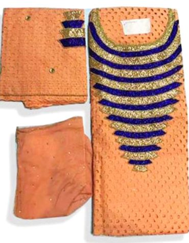 Latest African Designer Cotton Dry Lace Dress Light Orange (DCL-011)