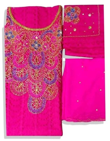 Latest African Designer Cotton Dry Lace Dress Fuchsia (DCL-012)