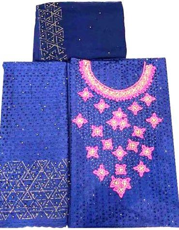 Latest Cotton African Designer Dry Lace Dress Royal-Blue(DCL-014)