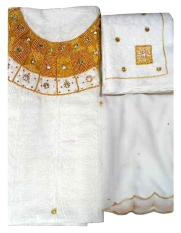 Latest Hollow Out Cotton African Attire Designer Dry Lace Dress White (DCL-018)