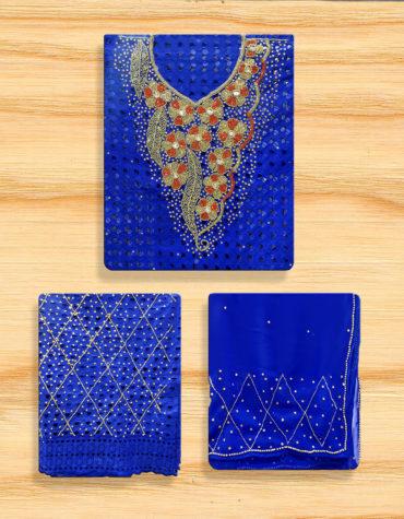 Latest Cotton African Floral Designer Dry Lace Dress Royal-Blue(DCL-029)