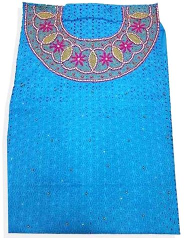 Latest African Attire Cotton Dry Lace Dress Turquoise-Blue (DCL-003)