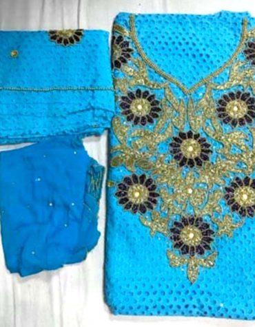 Cotton Dry Lace 3 Pieces Beads Floral Design Work (DCL-004)