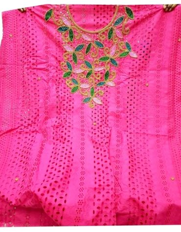 Latest African Attire Cotton Dry Lace Crystal Beaded Dress (DCL-005)