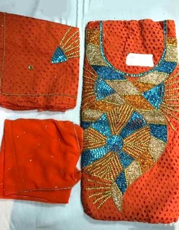 Latest African Designer Cotton Dry Lace Dress Orange (DCL-007)