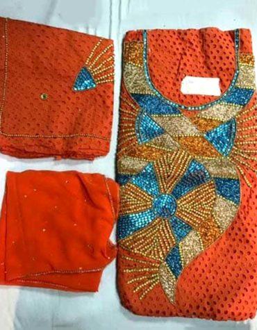 Latest African Designer Cotton Dry Lace Dress Orange (DCL-007)