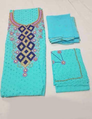 Cotton Dry Lace 3 Pieces Beads Square Design Work Sea Green(DCL-019)