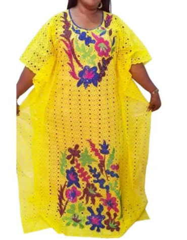 Latest Cotton African Designer Dry Lace Dress Yellow(DCL-027)