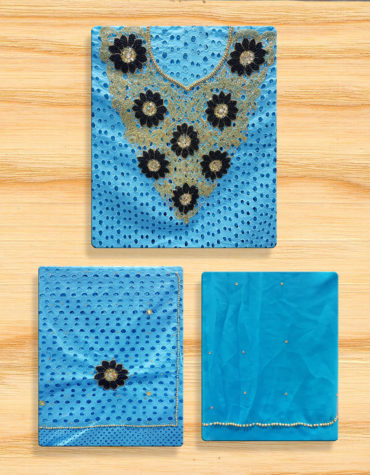 Cotton Dry Lace 3 Pieces Beads Floral Design Crystal Work (DCL-030)