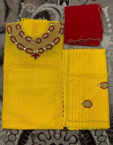 Yellow Cotton Dry Lace 3 Pieces Hollow Out African Design Work (DCL-049)