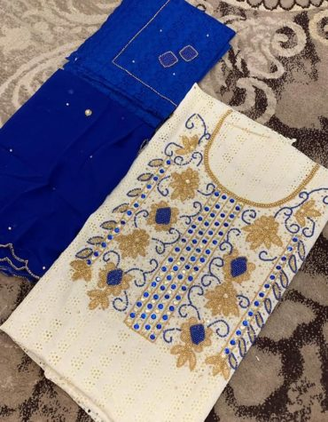 African Attire Hollow Out Cotton Dry Lace 3 Pieces Beads Design Work (DCL-054)